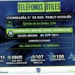 Teléfonos útiles   Comisaría 3° Ing. Pablo Nogués