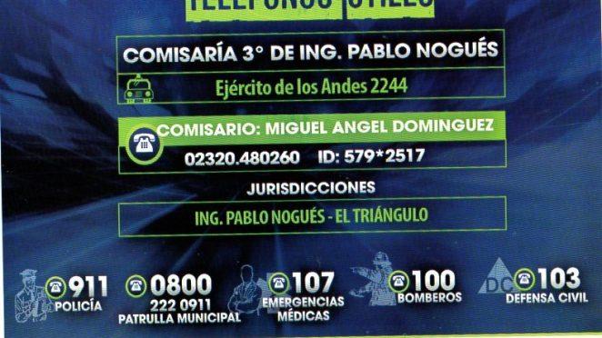 Teléfonos útiles | Comisaría 3° Ing. Pablo Nogués